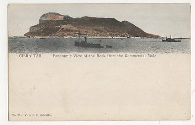 Gibraltar, Panoramic View of The Rock from Commercial Mole Early Postcard, B192