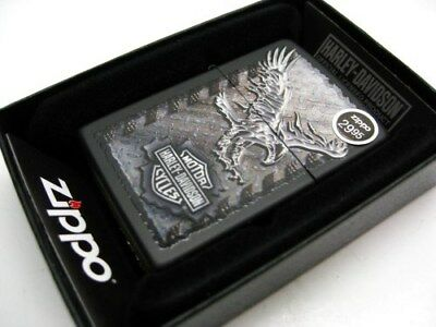 ZIPPO Full Size Black Matte HARLEY-DAVIDSON Logo & Eagle Windproof Lighter 28485