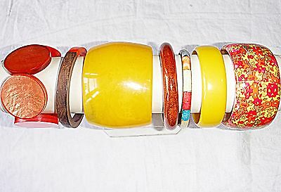 Vintage & Retro Lucite Plastic Yellows & Oranges Bangle Collection 7 Wow Chic