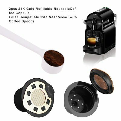 2pcs Refillable Reusable Coffee Capsule Filter Compatible with Nespresso w Spoon
