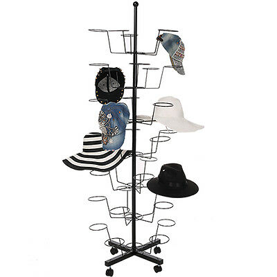 7 Tier Hat Cap Rack Rotating Spinner Metal Stand Floor for Bedroom Store Black
