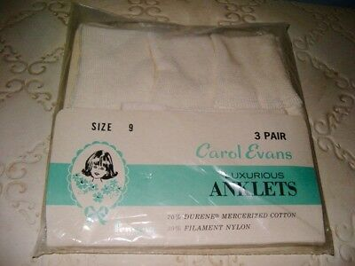 Vintage Girls 3 Pair Luxurious Anklets Socks Carol Evans Size 9 Penneys