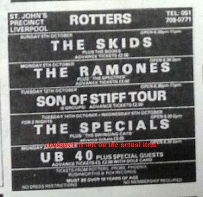 UB40 UK TIMELINE Advert - Liverpool Rotters 25-Oct-1980 4x3 inches