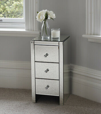 Mirrored Glass Bedside Table cabinet 3 Drawers and Glass Handles Mirror Furnitur
