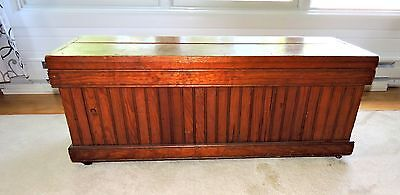 Primitive Antique 19th Century Wainscoting Blanket Chest on Wheels/Casters