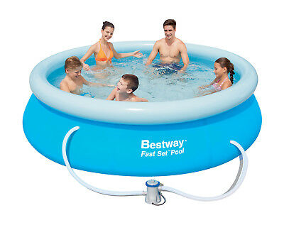 Bestway 12ft fast set swimming pool cover round paddling sheet garden new picclick uk for 10ft swimming pool with pump and cover