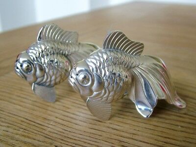 Quality Hm1974 Solid Silver Novelty Salt & Pepper Shakers Fish Carp Goldfish Nr