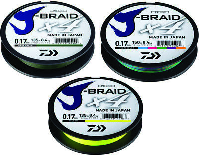 Daiwa J Braid X4E Fishing Braided Mainline 135m, 270m or 300m *All Types*