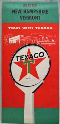 Texaco Service Station Maine New Hampshire Vermont Highway Road Map 1956 Vintage