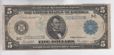 Federal Reserve Note $5 1914  vg-f ink stain paper pull UL corner