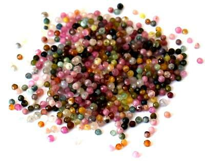 (500 Pieces) Fine Micro Faceted Cut Natural Multi Tourmaline Beads 2 Mm #d11038