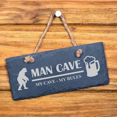 Man Cave My Rules hanging slate gift for him SL-RC8