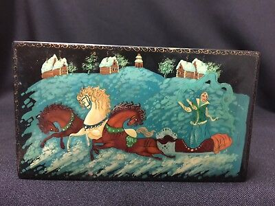 Vintage! Russian Black Lacquer FairyTale Footed Wooden Hinged Trinket Box FS