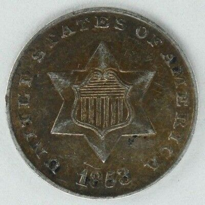 1853 Three Cent Silver 3Cs  Au About Uncirculated