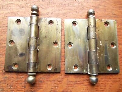 """Two Antique Brass Plated Craftsman Door Hinges 3 1/2"""" Patented  c1920 Stanley"""