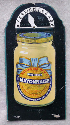 Hellmann's Mayonnaise Advertising Recipe Jar Cooking Clock c 1920's Free Ship