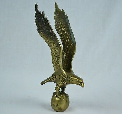 Antique Brass Eagle on Ball Clock Topper Finial Ornament - TALL