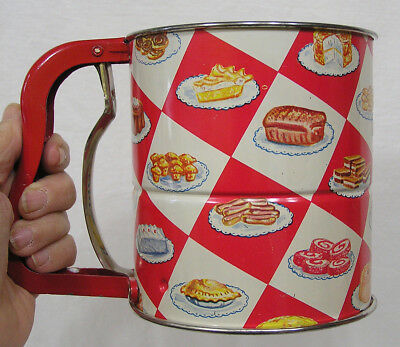 Vtg Androck Tin Kitchen Sifter w Dessert Images Around Red Checked Sides