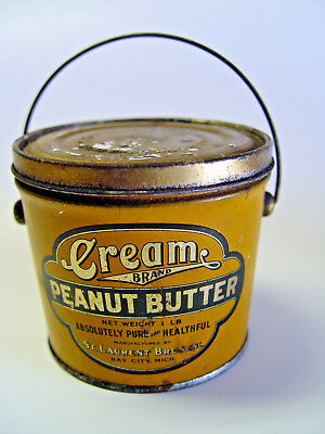 Bale Handle Correct Top Bay City Mich. Cream Peanut Butter Advertising Tin