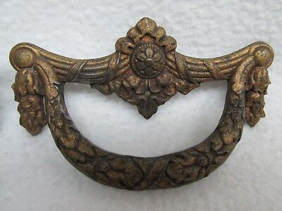 Vintage Set of 4 Ornate Brass Furniture drawer Drop Pulls Handles Hardware