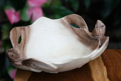 """Double Turtle Wooden Bowl 8""""X6""""X2.5"""" Hand Carved Acacia 