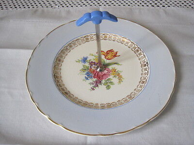 Gorgeous A J Wilkinson Floral Posy And Baby Blue Handled Cake Plate