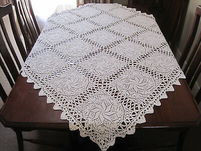 Lovely Hand Worked White Square Knitted Lace Tablecloth