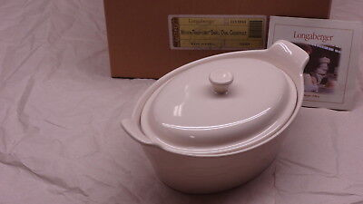 Longaberger Woven Traditions Heirloom Ivory Small Oval Casserole Baking Dish NEW