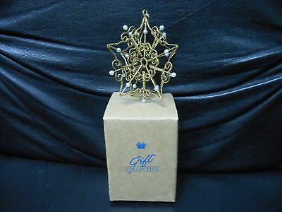 """Avon Gift Collection """"Glitter Snowflake""""1998 Faux-Pearl Gold Paint Ornament NEW"""