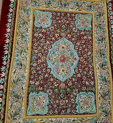 Vintage Fine Hand Beaded Embroidered w Gold Silver Burma Burmese KALAGA Tapestry