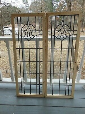 V-304 Lovely Leaded Glass Window From England Reframed   2 Available