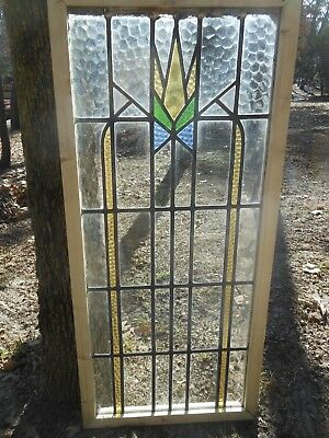 V-844A Lovely Large Older Leaded Stained Glass Window From England Reframed