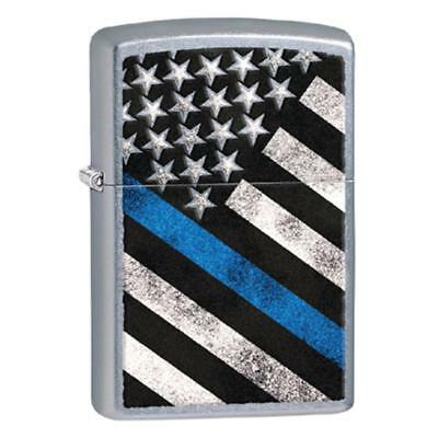 Zippo 29551 Thin Blue Line Flag, Police Windproof Lighter, Black Matte Finish