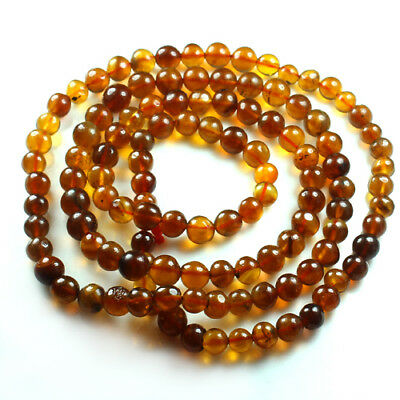 24.38g 100% Natural Mexican Golden Amber Bead Bracelet Necklace CSFb569