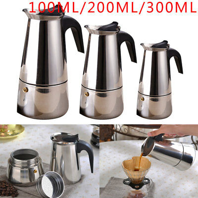 Stainless Steel Coffee Maker 2 4 6Cups Espresso Italian Pot Percolator Stove