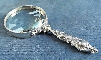 "GOOD 6"" ~ SOLID SILVER ~ MAGNIFYING Glass ~ B'ham 1900 by Adie & Lovekin"