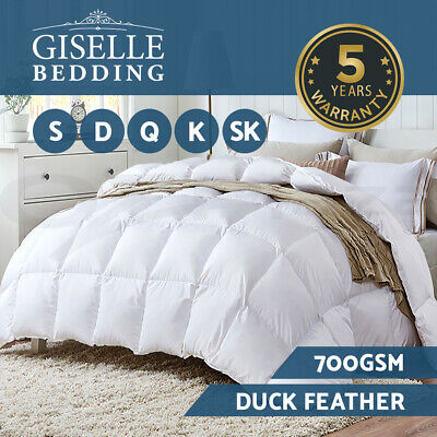 Duck Down Feather Quilt 700GSM Blanket Duvet Doona Cotton Cover Winter All Sizes