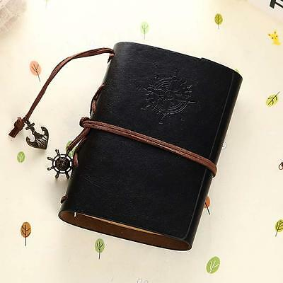 Vintage Classic Retro Leather Journal Travel Notepad Notebook Blank Diary BLK B@