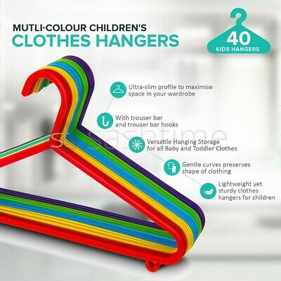 40 x MULTICOLOUR BABY CHILDREN KIDS PLASTIC HANGERS CLOTHES CLOTH PLASTIC COAT