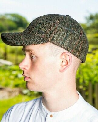 56837bbf Green Herringbone Irish Tweed Baseball Cap With Ear Flaps by John Hanly &  Co h58
