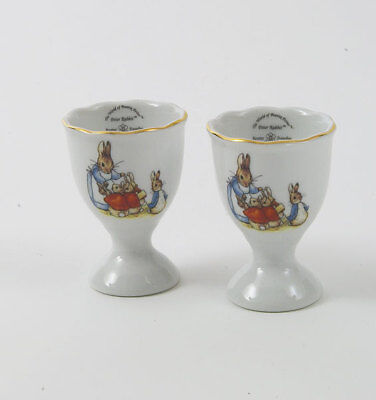 Reutter Porcelain Beatrix Potter Peter Rabbit & Mrs Rabbit China Egg Cups