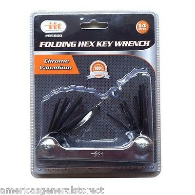 "Folding Hex Key Set allen wrench set 2"" long ea.; 4.25"" closed SAE metric 14 pc"