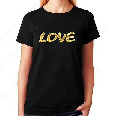 "Womens / Unisex Lace and Spangle T-shirt "" Gold Love "" in S, M, L, XL, 2X, 3X"