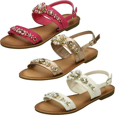 WHOLESALE Girls Jewel Trim Sandals / Sizes 10-2 / 16 Pairs / HW0273
