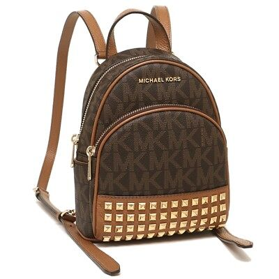Michael Kors Abbey Extra Small Xs Studded Backpack Xbody Mk Signature Brown