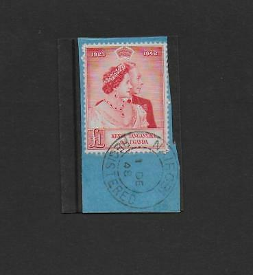 KUT 1948 Silver Wedding one pound, used, cancelled on day of issue.