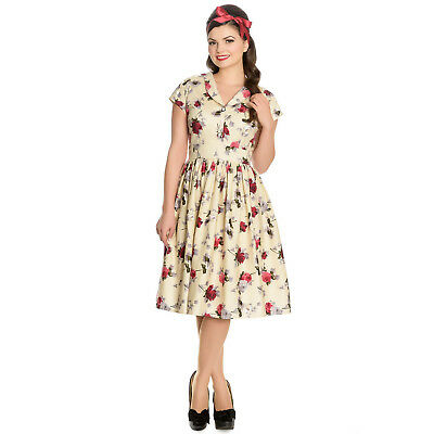 Hell Bunny Rosemary Cream 1940s Wartime WW2 Floral Retro Vintage Victory Dress