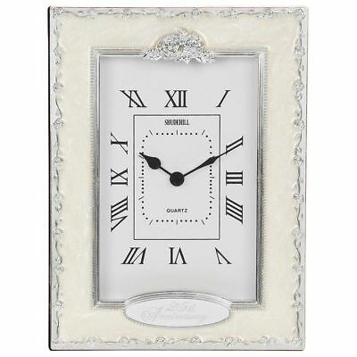 Silver Wedding Anniversary Clock 25th Celebration Gift 37225