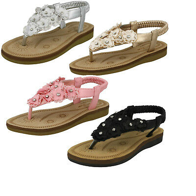 WHOLESALE Girls Flower Trim Sandals / Sizes 10-2 / 18 Pairs / HW0261
