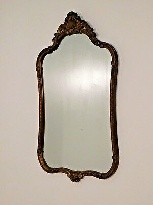 ANTIQUE French Rococo Plate Glass 1920s 30s Gold Gilt Framed Mirror